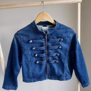 Torrid Size 00 Military Cropped Denim Jacket